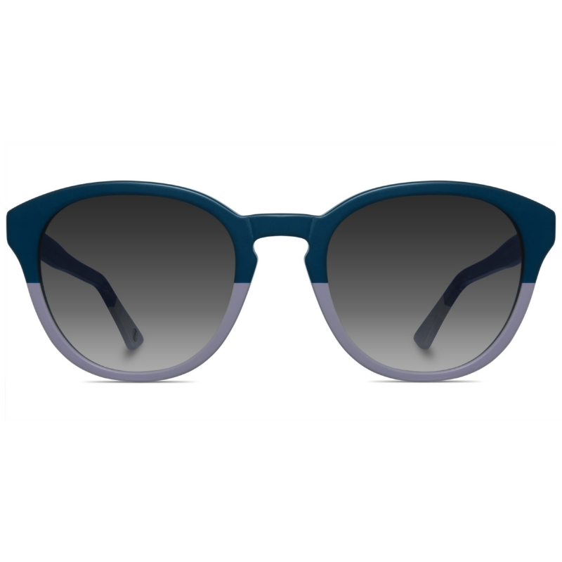 Classic round two-toned sunglasses with grey gradient lenses