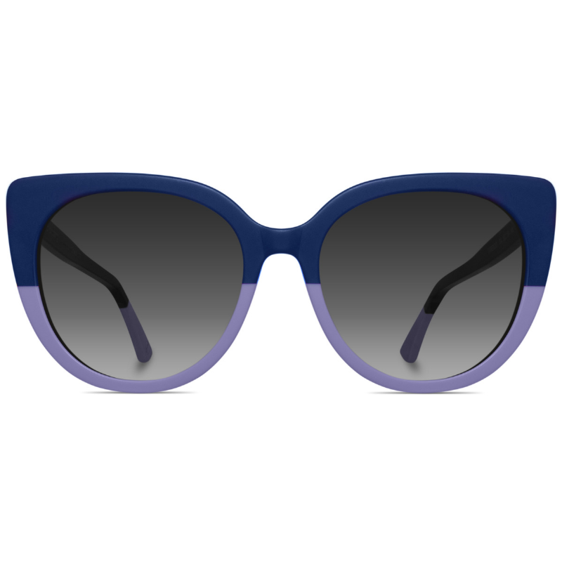 Purple two toned cat-eyed sunglasses with grey gradient lenses