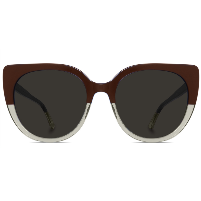 Brown and transparent two toned sunglasses with brown lenses