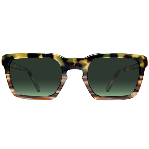 Squared sunglasses with green lenses