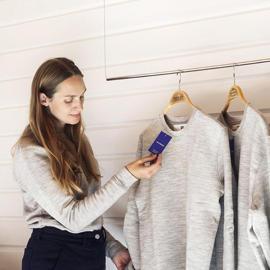 Lisa Berstrand with wool garments