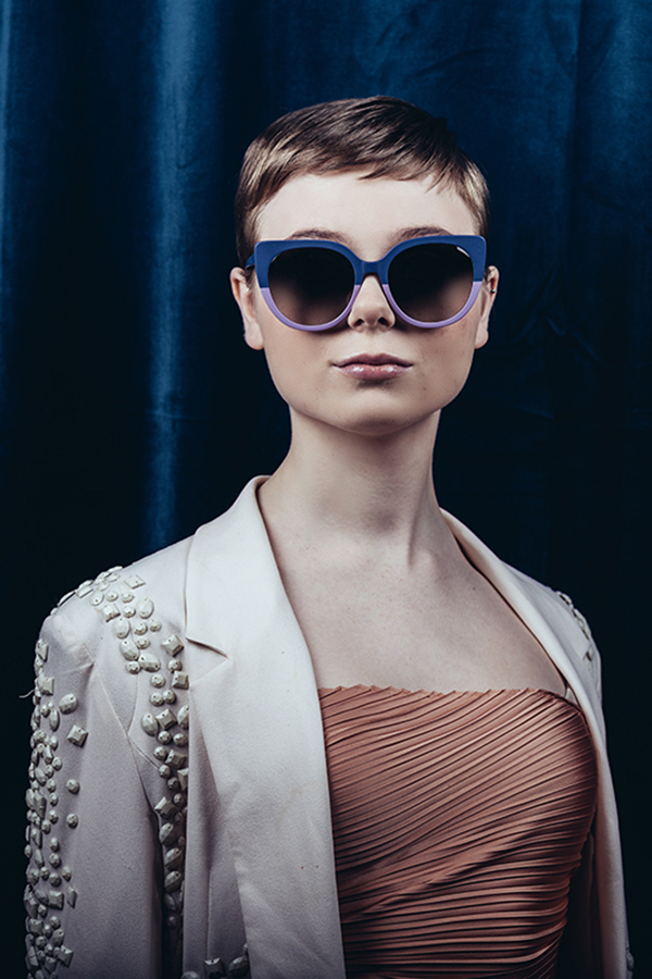Woman wearing two-toned sunglasses